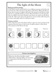 5th grade science worksheets the many phases of the moon bridges earth space science. Black Bedroom Furniture Sets. Home Design Ideas