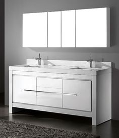 """Madeli Vicenza 72"""" Glossy White Modern Bathroom Vanity with Quartzstone Countertop and Ceramic Undermount Sink, http://www.listvanities.com/modern-bathroom-vanities.html royally design features a rich, Glossy White finish accented with decorative, polished chrome handles and leg accents. Customizable basin and countertop options include pristine White or Biscuit ceramic and Quartzstone. Superior craftsmanship is evident in the larger storage compartments with concealed interior pull-out…"""