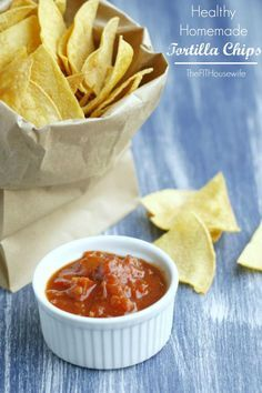 Healthy Homemade Tortilla Chips. A simple recipe that is so much tastier and healthy than store bought. From The Fit Housewife. Vegan, 21 Day Fix, Gluten Free, Dairy Free, Soy Free, Sugar Free.