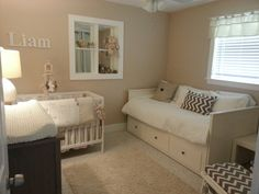 Nursery ideas in neutral colors. We used  Mamas and Papas bear collection for the crib set.  Baby room with a  daybed is a good idea for a small room like this. I'm love with my baby room!!!