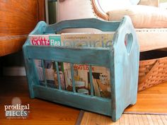 38/18.75 Vintage Blue Wooden Magazine Rack Crafting by ProdigalPieces