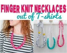 DIY Crafts | How to Finger Knit a Necklace - This is a great way to repupose old tee shirts, and it's so easy a child can even do it!
