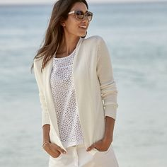 The White Company US. Rib Mix Short Cardigan - White   A really handy throw-on piece, this pure-cotton cardigan has rib detailing on the body and a plain knit collar for a hint of detail - perfect for working texture into your warm-weather wardrobe and really easy to wear over simple dresses and cami.