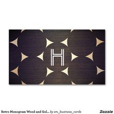 Retro Monogram Wood and Gold Circles Pattern Business Card