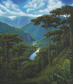 Landscape Art, Landscape Paintings, Fantasy World, Fantasy Art, Costa, Tropical Art, Botanical Art, Amazing Nature, American Art