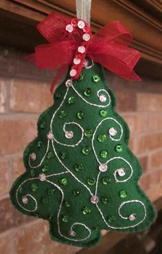Handmade Felt 2014 Christmas Tree Ornaments, 2014 Christmas Tree Ornaments With Sequins