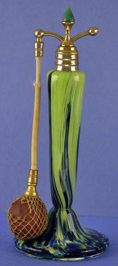 1920's Czechoslovakian Jeweled, Green & Blue Glass Atomizer Perfume / Scent Bottle