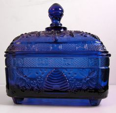 Tiara Indiana Glass Cobalt Blue Bee Hive Footed Candy Dish (from ebay)