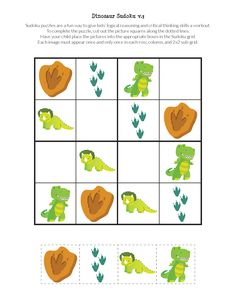 Free kid-friendly dinosaur sudoku puzzles that use smaller grids and dinosaur images instead of numbers. Perfect for dinosaur lovers ages 2 to Dinosaur Puzzles, Dinosaur Printables, Dinosaur Games, Dinosaurs Preschool, Sudoku Puzzles, Dinosaur Crafts, Preschool Learning, Kindergarten Activities, Free Printables
