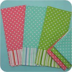 Polka Dot & Stripe Dishtowels  A bright spring pallet to brighten up any kitchen. Great for embroidery designs and monogram.