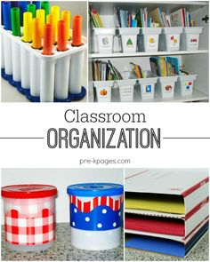 Classroom Organization Tips for Preschool and Kindergarten Teachers. Got stuff? Check out these great ideas for organizing all your teaching stuff in your classroom!:
