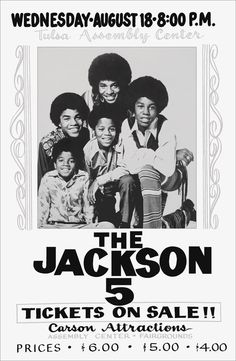 The Jackson 5 Tulsa Concert Poster Stand-Up Display - Carson Attractions 1971 Jackson 5, Jackson Family, Vintage Concert Posters, Vintage Posters, Vintage Ads, Vintage Images, Rock Posters, Band Posters, Movie Posters
