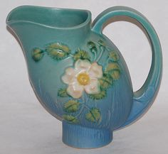 Roseville Pottery White Rose Blue Pitcher 1324  ALL Roseville is Quite Expensive!!!