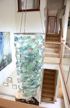 Leaf chandelier installation at Feock