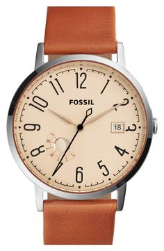 Fossil Vintage Muse Leather Strap Watch, 40mm