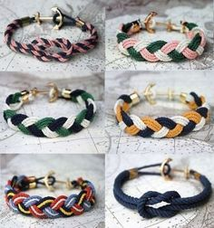 Nautical bracelets - no instructions but should be easy to figure out