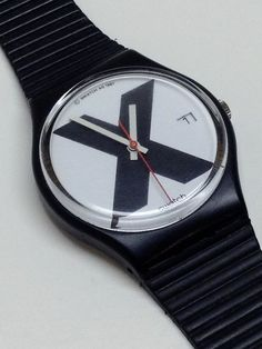 Vintage Swatch Watch X Rated GB406 1987 Straight Edge Extra Custom Bands Pin #Swatch #Casual
