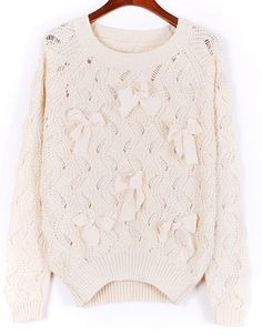 Beige Long Sleeve Bow Beading Hollow Sweater EUR€20.36