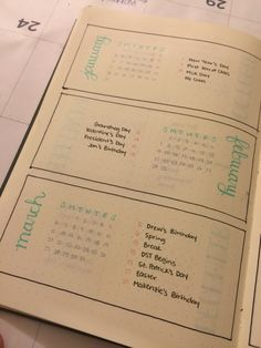 Good idea for making calendars in bullet journals