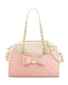 d823debc8c958a Betsey Johnson Handbag Be My Honey Buns Dome Satchel Shoulder bag Blush pink