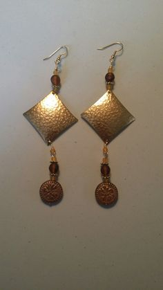 Hammered Gold Tone Earrings - JewelsByElan.com