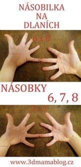 Násobení na dlaních - násobky 6, 7, 8  #matematika #děti #násobilka #montessori #tip3dmamablog