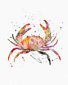 - Description - Specs - Processing + Shipping - Break away from the mold of big-box stores with this original and unique art illustration which is sure to make your room stand out from the crowd. Crab Art, Fish Art, Krebs Tattoo, Doodle Drawing, Beach Art, Sea Creatures, Oeuvre D'art, Painting Inspiration, Watercolor Paintings