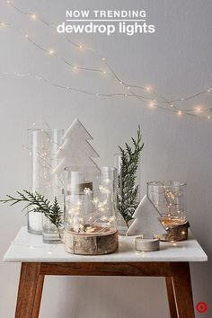 Dewdrop Lights - Rustic Christmas Light Ideas That Prove Holiday Decor Can Be Chic - Photos Noel Christmas, Rustic Christmas, Winter Christmas, Christmas Lights, Christmas Crafts, Simple Christmas, Christmas Ornaments, Deco Table Noel, Holiday Fun