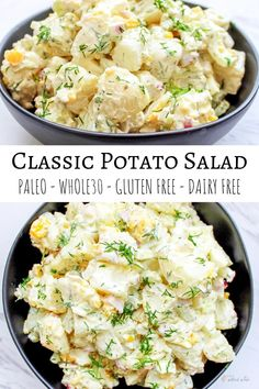 A Whole30 and Paleo Classic Potato Salad that is perfect for your summer picnics! #paleo #whole30 #glutenfree #dairyfree