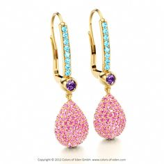 Gold Earrings with Pink Sapphire, Amethyst and Blue Zircon