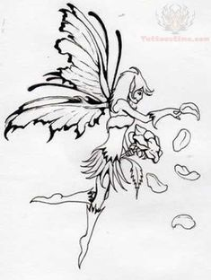 Fairy Outline Tattoo Images & Pictures - Becuo