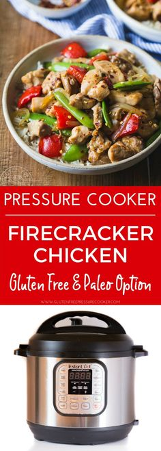A wonderful explosion of fabulous Sweet, Hot and Savory flavors blend together to make this easy weeknight Instant Pot Firecracker Chicken Recipe! This Panda Express Copycat recipe is one you won't want to miss! It's gluten free and dairy free and can be made paleo with a couple of tweaks that are listed in the recipe.