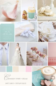 ivory,tiffany blue, gray invitation | Ivory Pink Tiffany Blue Wedding We recently created this Color Palette ...