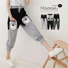 Maymaylu Dreams - Two-Tone Bear Appliqué Sweatpants