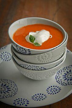 Soep van geroosterde tomaten.