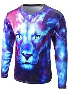 $19.21 Round Neck Starry Sky 3D Lion Print Long Sleeve T-Shirt