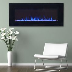 Dual Color LED Wall Mount Electric Fireplace