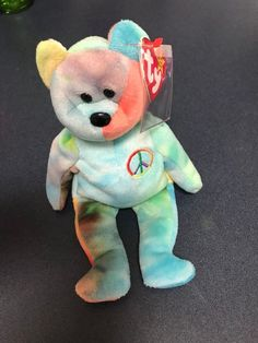 2d6a910289d NEW Beanie Bear Authenticated Peace Bear 1996 Retired Rare Rainbow PEACE  TAG  Ty Beanie Bears