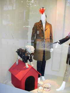 Dog mannequins in a Burberry window display from the fashionethos.blogspot.com
