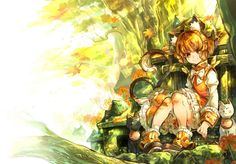 touhou animal animal ears autumn boots bow brown hair cat chen hat im (badmasa) short hair tail touhou yellow eyes wallpaper background