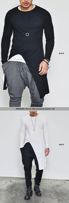 Tops :: Tees :: Avant-garde Edge Unbalance Long-Tee 138 - Mens Fashion Clothing For An Attractive Guy Look #Fashion