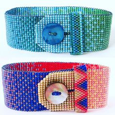 Narrow ombré button bracelets. I am all about an integrated clasp! #beadweaving…