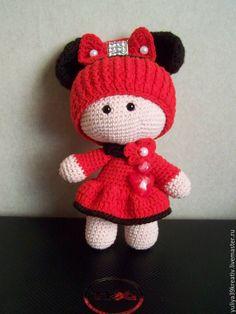 Купить Пупсик в костюме Минни-Мауса крючком - комбинированный, Пупсик, пупсик крючком, минни маус ♡