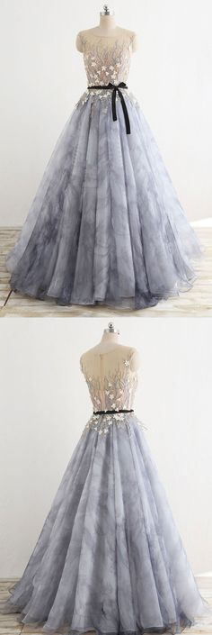 Beaded Long Grey Tulle Lace Floral Prom Dress Dresses#Promdressesonline#promdresses2018#cheappromdress#greypromdresses#cheappromdresses#eveningdresses#formaldresses2018