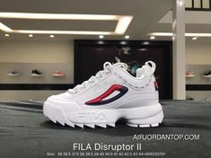 Fila Disruptor II 2 Indented Height Increasing Slender Legs All-match  Jogging Shoes White Red d8c02f32dcc3