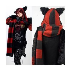 Red and Black Stripe Knit Cat Ear Hooded Gothic Punk Emo Winter Scarf... via Polyvore featuring accessories, scarves, red and black scarves, striped shawl, knit scarves, striped scarves and knit shawl