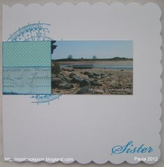 """My sister's birthday card which inspired my 8""""x8"""" layout  Alnmouth Beach, Northumberland."""