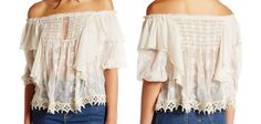 $168 Free People Ruffled Cloud Blouse Small 2 4 Ivory Sheer Off the Shoulders  #FreePeople #Embroidered #Casual