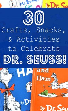 Seuss Theme: Crafts, Snacks, and Activities to Celebrate Dr. Seuss Theme: 30 Crafts, Snacks, a. Dr Seuss Activities, Preschool Activities, Preschool Books, Dr Seuss Week, Dr Suess, Read Across America Day, Dr Seuss Birthday, 3rd Birthday, Author Studies