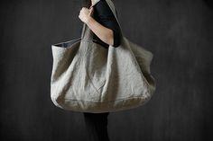 Linen bag Natural linen oversize Bag Washed by MadameLampiere